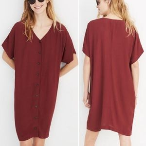 Brick Red Madewell Button Front Easy Dress (XXS-S)